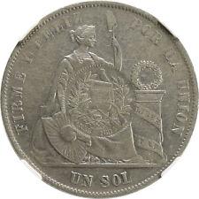 Guatemala Peso 1/2 Real c/s on Peru Sol 1875 YJ NGC XF40