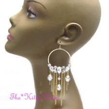 Large Gold Plt Chic Crystal Hoop Bling Drop Tassel Statement Chandelier Earrings