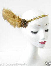 Bronze Gold Ostrich Feather Headpiece Flapper 1920s Gatsby Downton Headband P75