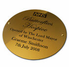 """Engraved Brass Plaque Sign Bench Plate Memorial 6"""" Circle Solid Polished Brass"""