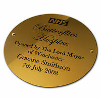 """Engraved Brass Plaque Sign Bench Plate Memorial 8"""" Circle Solid Polished Brass"""