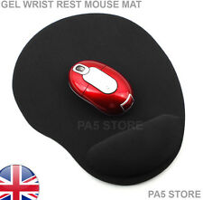 BLACK GEL WRIST REST MOUSE MAT PAD COMFORT FOR OPTICAL/LAZER SCROLL MOUSE UK