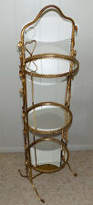 Italian gold tole folding mirror stand server shelf rope twist Hollywood Regency