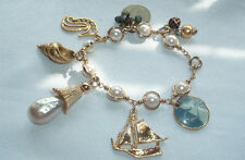 VINTAGE FAUX PEARL SEA HORSE SAIL BOAT SHELL 7 DANGLE CHARM BRACELET IN GIFT BOX