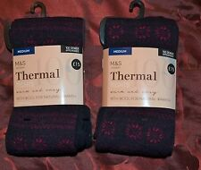 M&S 100 DENIER THERMAL TIGHTS - SIZE M - 2 PAIR - 3 WAY STRETCH  NAVY MIX - BNWT