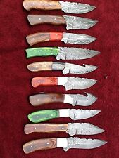 CUSTOM HAND MADE DAMASCUS STEEL FIXED BLADE SKINER KNIFE  65(lot of 10)
