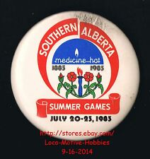 LMH BUTTON Pinback Pin  1983 MEDICINE HAT  City SUMMER GAMES  Southern ALBERTA