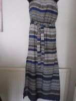 WOMENS STRAPLESS AZTEC/ZIG ZAG PRINT MAXI DRESS SIZE 10 DOROTHY PERKINS