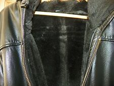 Womens Wilson black fur lined leather coat with hood XL