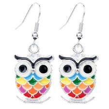 Fashion Lady Silver Tone Colorful Owl Shape Dangle Hooking Earrings Gift