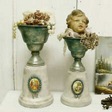 Vintage aged trophy cups award Cameo rhinestones Shabby altered decorative Art