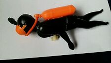 VINTAGE wind-up SCUBA DIVER  Black diver w/ orange tank & mask ~ plastic WORKING