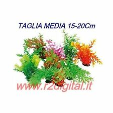 PIANTINA ARTIFICIALE 5Pz ACQUARIO 15-20cm MEDIA PIANTA PLASTICA TARTARUGHIERA