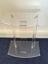 Clear Acrylic Lucite Pedestal Base Side or Accent Table