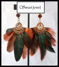 Grandes boucles d oreilles BIJOUX IKITA PARIS marron vert dormeuse plume cadeau