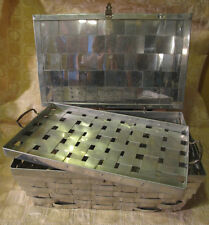 Vintage Antique Aluminium Metal Woven Hinged Lid Basket with Tray Jewelry Box