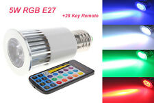 5W LED E27 E26 RGB Spot Light  Multi Color Bulb AC 85-265V With 28 key Remote