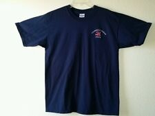Fine USS RONALD REAGAN CVN76 Embroidered Sz L Heavyweight Cotton Blue Tee Shirt