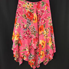 Ralph Lauren Silk Skirt Pink Floral 20W Peasant Maxi Tiered Colorful Chiffon