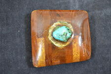 Vintage Lacquered Wood Turquoise Nugget Hand/Homemade Belt Buckle 1262-3
