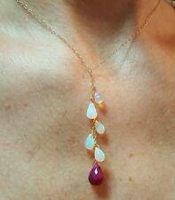 Ruby briolette Ethiopian Fire Opal briolettes  necklace pendant 14kt gold lariat