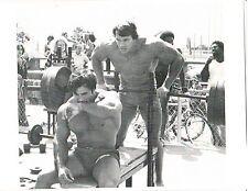 Arnold Schwarzenegger/Franco Columbu Bench 315 Workout Bodybuilding Photo B&W #1