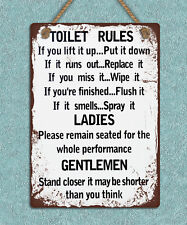 Hanging metal sign retro vintage style Toilet Rules bathroom wall door plaque