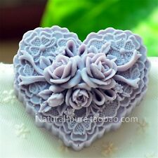 Heart Shape Silicone Soap Making Art Clay Craft Mold with Delicate Floral Patter