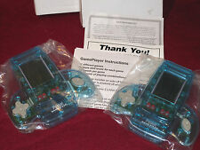 LOT 2 Handheld Electronic Video Games Pocket Game Player Clear Blue 11 Games NEW