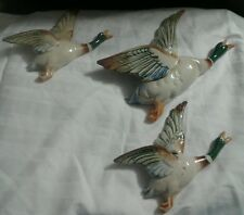 Vintage Flying Mallard Duck Figurine Wall Pocket Vases Japan--Game Bird Decor