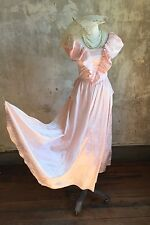 Vintage 80's Antebellum South Style Voluminous Gown XS Off Shoulder Huge Skirt