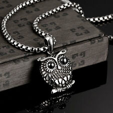 Owl 4mm Silver Stainless Steel Chain Necklace Pendant Bib Link Jewelry Unisex