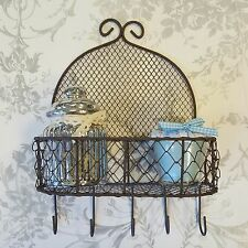 Shabby Chic Style Wire Display Unit Storage With Hooks Kitchen Bathroom Vintage