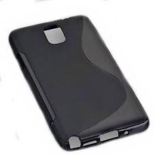 Rubber Silikon TPU Cover Schwarz für Samsung Galaxy Note 3 + Displayschutzfolie