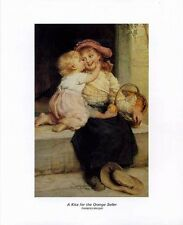 Children's Art: KISS FOR THE ORANGE SELLER - 16x20 In. Art Print
