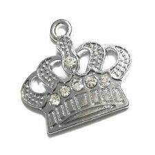 5 pieces 22x25mm Crown Zinc Alloy Rhinestones Charm Pendants - A0634