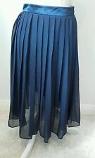 H&M Pleated and Lined long Womens Navy Skirt Size EUR 36 Excellent condition