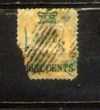 1867Malaysia Malaya Straits Settlements Stamps of India 8c On 2a CVRm 180 Damage
