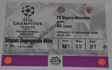 old TICKET CL Bayern Munchen Germany - RC Lens France