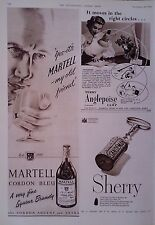 1953 ADVERT TERRY ANGLEPOISE LAMP-MARTELL BRANDY-SANDEMAN SHERRY-DAVID BROWN Co