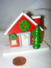 CHRISTMAS TREE Ornament WOOD WOODEN RED GREEN WHITE NEW FIRST HOME HOUSE HOLIDAY