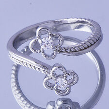 Womens Flower Ring Clear Cubic Zirconia White Gold Filled Adjustable Size 8