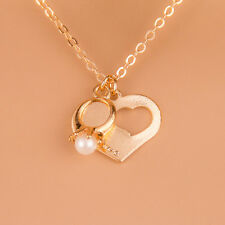 Heart Ring Gold Filled Chain Pendant Necklace Natural Free Shipping New