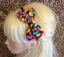 "NEW BLACK JELLYBEAN SWEET CANDY PRINT FABRIC 5"" SIDE BOW ALICE HAIR HEAD BAND"