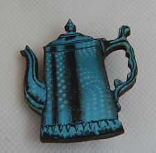 Vintage Style Coffee Pot Brooch or Scarf Pin Fashion Wood Accessories New Blue