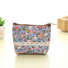 w* e Women Canvas Wallet Small Clutch Zip Card Coin Holder Purse Blueil