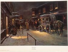 Western Old West Art Print of Cowboys with Horses & Horse Stagecoach Carriage