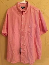 NWT Club Room Men's Size L Large S/S Striped Button Front Button Down Shirt