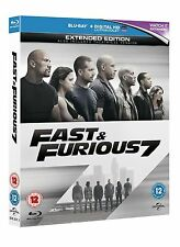 FAST AND FURIOUS PART 7 BLU RAY EXTENDED + THETRICAL EDITION + DIGITIAL UV COPY