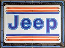 JEEP DEALER STYLE NEON EFFECT PRINTED BANNER SIGN UNIQUE GARAGE ART MURAL 4 X 3